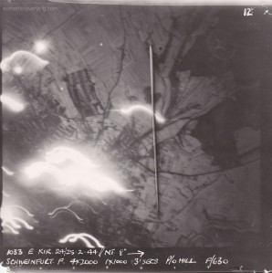 Bombing photo from 630 Squadron of the Schweinfurt attack. Image courtesy Neale Wellman