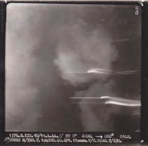 Target Photo shows smoke at 01.42 during the first attack - from the Wade Rodgers collection, courtesy Neale Wellman