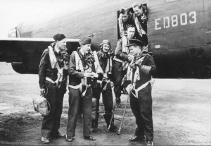 ED803, the aircraft lost tonight, is shown with a different crew in this photograph from some time in 1943. The crew depicted was lost on a raid to Milan on 15 August 1943. From the Waddington Collection, RAF Waddington Heritage Centre