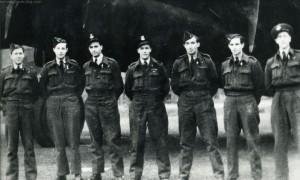 Squadron Leader Bill Forbes and crew in late 1943. L-R: P/O H Robertson (nav), Sgt AJ Norman (RG), P/O F Miller (F/E), S/L WA Forbes (Pilot), Sgt F McLeod (W/O), P/O H Garth (MUG) and P/O W Grimes (BA). Photo: The Waddington Collection, RAF Waddington Heritage Centre