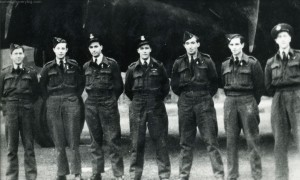 Squadron Leader Bill Forbes and crew in late 1943. L-R: P/O H Robertson (nav), Sgt AJ Norman (RG), P/O F Miller (F/E), S/L WA Forbes (Pilot), Sgt F McLeod (W/O), P/O H Garth (MUG) and P/O W Grimes (BA). Photo: The Waddington Collection, RAF Waddington Heritage Centre