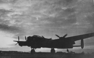 "Original caption reads: ""Lancaster JO-Q 'Queenie' (ME580/G) of 463 Sqn just about to touch down on 24 Apr '44 following an attack on Munich (Flying time 9 hrs 35 mins)."" Courtesy RAF Waddington Heritage Centre"