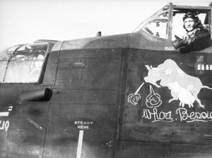Bruce Buckham in the cockpit of his usual steed, ME701 JO-F 'Whoa Bessie'. Photo from the Waddington Collection, RAF Waddington Heritage Centre