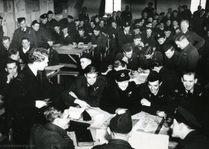 463 Squadron crews in the briefing hut before the raid on 18 April 1944. From the Waddington Collection, RAF Waddington Heritage Centre