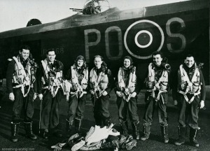 Flying Officer Scholefield (far left) with his crew after what was reputedly S-Sugar's 100th operation. From the Waddington Collection, courtesy RAF Waddington Heritage Centre