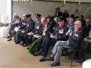 Bomber Command veterans and other VIPs amongst the crowd: Left to Right: Squadron Leader Lyne Skinner, Dudley Mitchell, Wing Commander (AAFC)  Peter Gill OC AAFC, Group Captain Ross Bender (92 Wing), Hon Martin Hamilton-Smith (State Minister for Veterans Affairs), Wing Commander Martin Ball (24 Sqn), Wing Commander Bob Macintosh AFC MID. 2nd row far left Squadron Leader David Leicester OAM DFC* (behind right shoulder of Martin Hamilton-Smith)