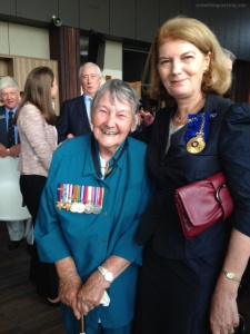 Joanne Adair (who was a former Secretary for Winston Churchill) with Her Excellency The Honourable Ms Penelope Wensley AC, Governor of Queensland