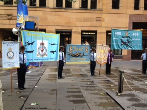 A rare photo of the four Bomber Command banners together in Sydney: Left to right, they represent 460 Squadron, the Bomber Command Association, 463/467 Squadrons and 462/466 Squadrons.