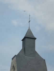 F-GKVV passing a church in Hellemmes - snapped by a friend while we were flying