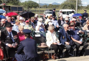 Ethel Braun and Bryan McGill (463 Squadron gunner) right of centre, with Allan Vial of the Pathfinders left of centre, amongst the crowd at Amberley
