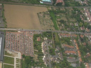 Lezennes Communal Cemetery from the air