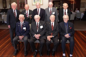 Back row L-R: Don Southwell (463 Sqn Navigator), Bill Purdy (463 Sqn Pilot), Hugh McLeod (49 Sqn Rear Gunner), Max Barry (463 Sqn Mid Upper Gunner), Roy Pegler (467 Sqn Bomb Aimer). Front Row L-R: Don Huxtable (463 Sqn Pilot), Don Browning (463 Sqn Wireless Operator), Ron Houghton (102 Sqn Pilot) and Keith Campbell (466 Sqn Bomb Aimer).