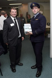 Andy Wright with David Howell, the winner of the 'main prize' - a complete set of Chris Ward's Bomber Command Groups books, donated by Pen and Sword in the UK