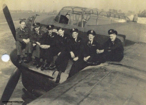 The crew, from left to right: P/O. Jock Hepburn D.F.M. Flight Engineer, P/O. Dennis Parrish Bomb Aimer, P/O. Gerald McPherson Rear Gunner. P/O. Ron Liversidge Navigator, P/O. Jim Mallinson Mid Upper Gunner, Flt./Lt. Jeff Clarson D.F.C. Pilot, W/O. Wilbert Perry Wireless Operator.