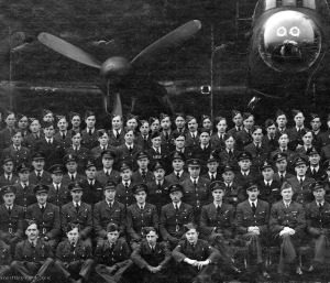Harry (centre, marked with his initials HEB) among 106 Squadron aircrew. The man marked KK in front of him is his pilot, Ken Kiesling. Photo courtesy Nancy Jacobs