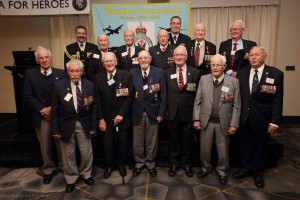 Veterans at the Lunch gathered for a group photo with the two top-ranking members of the current Royal Australian Air Force. Front row, L-R: Tom Hopkinson, [unknown], Keith Campbell, Max Barry, Rex Austin, Ray Merrill, Jim Clayton.  Back row L-R: Deputy Chief of Air Force Air Vice Marshal Gavin 'Leo' Davies, Tommy Knox, Angus Cameron, Bill Purdy, Chief of Air Force Air Marshal Geoff Brown, Ron Houghton, Don Southwell.