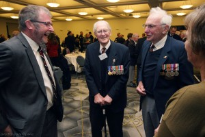Ian Coffey (left) talking to Keith Campbell and Tom Hopkinson at the lunch