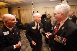 Tommy Knox, Angus Cameron and Rex Austin. Angus and Rex have just recognised each other for the first time in about 20 years. In the early 1950s, both rejoined the Air Force and were on the same ITS course together.