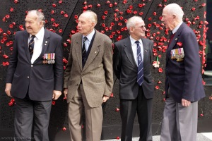 Bomber Command veterans assembling for a group photo