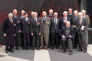 Bomber Command veterans following a commemorative ceremony held at the Shrine of Remembrance in Melbourne