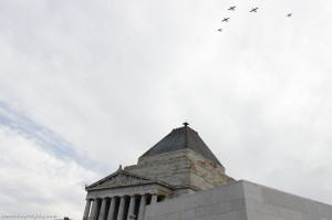 The RAAF Museum Flight passing the Shrine of Remembrance