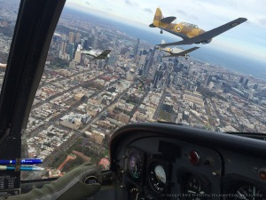 The RAAF Museum Heritage Trainer Flight turns towards the Shrine, Melbourne. Photo from one of the CT-4s in the formation courtesy Matt Henderson