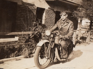 Arthur Atkins and his 350cc Calthorpe motorcycle copy