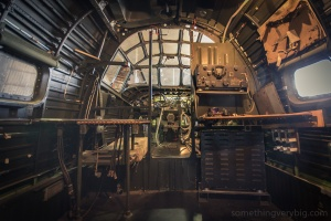 Inside the Werribee Liberator, looking forward from the bomb bay
